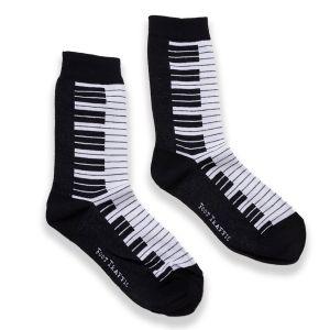 Womens Black and White Piano Socks