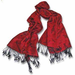 Treble Clef Pashmina Red Scarf